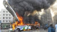 Aftermath of bus blast