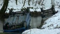 Two cars in the River Wye