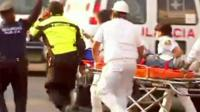 Emergency services with a stretcher