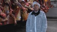 The BBC's Nick Thorpe in a Romanian abbatoir