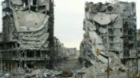 Heavily shelled buildings in Baba Amr district of Homs, Syria