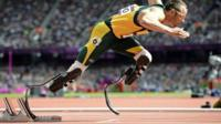 """South Africa""""s Oscar Pistorius starts his men""""s 400m round 1 heats at the London 2012 Olympic Games at the Olympic Stadium in this August 4, 2012"""
