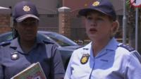 South Africa police officers during news conference
