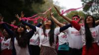 "Activists dance in an event to support ""One Billion Rising"" global campaign in New Delhi, India"