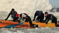 Canoe race at the Quebec Winter Carnival
