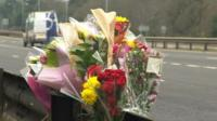 Flowers on the spot where 16-year-old Jade Clark from Ringwood died