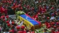 Coffin is transported