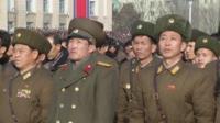North Korea men in military uniform on parade