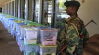 Ballot papers being guarded in Kenya