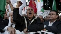 Protesters rally outside parliament