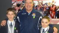 Josh and Jack with West Ham manager Sam Allardyce