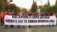Bank workers and members of the public protesting in Cyprus