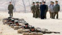 KCNA image shows North Korean leader Kim Jong-un visiting a military unit on 23 March 2013