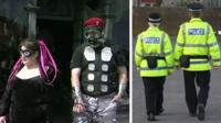 Goths (left) and police