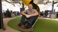 Staff can get between floors via a slide