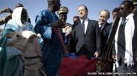 President Francois Hollande is presented with the camel in Mali (February 2013)