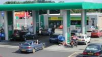 Petrol station petrol fuel pump pumps