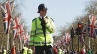 A police officer on The Mall a day before the London Marathon
