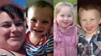 Lee-Anna Shiers, 20, her son Charlie Timbrell, niece Skye, two and nephew Bailey Allen, four