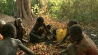 Children sorting cashew nuts on the ground