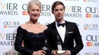 Dame Helen Mirren with her Best Actress award and Luke Treadaway with his Best Actor award