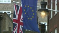 Union and EU flags outside Downing Street