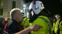 Man on EDL protest in exchange with policeman