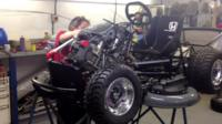Testing the lawnmower's souped-up engine