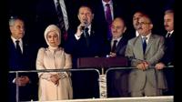 Turkish Prime Minister Recep Tayyip Erdogan addresses crowds