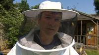Nick Watt dressed as beekeper