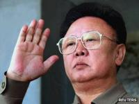 Kim Jong-il returns a salute during a military parade in Pyongyang marking the 60th anniversary of the Korean Workers' Party on 10 October 2005.