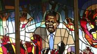 Stained glass picture of Nelson Mandela