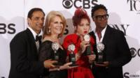Hal Luftig, Daryl Roth, Cyndi Lauper and Billy Porter pose with four Tony awards