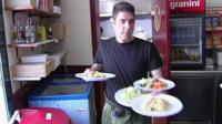 Worker at La Trobada restaurant