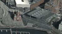 Aerial view of the Senedd in Cardiff Bay