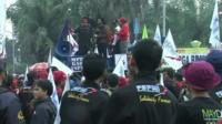 Anti-fuel price hike protest in Jakarta, Indonesia