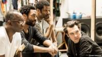 Joseph Mydell (Kala Lubu), Chiwetel Ejiofor (Lumumba), Brian Bovell (Okito) with director Joe Wright