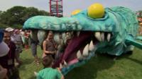 Horace the pleiosaur in the Kidz Field at Glastonbury