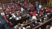 Peers leaving House of Lords