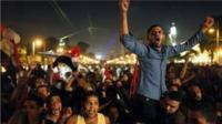 Egyptian protesters call for ousting of President Morsi near presidential palace in Cairo on 3 July