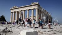 Tourists at Parthenon