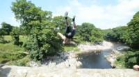 """Tombstoning"" at Devil's Bridge, Kirkby Lonsdale"