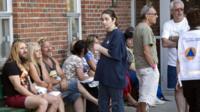 Lac-Megantic residents wait outside an emergency centre