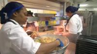 School dinners being prepared