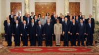 Newly sworn in Egyptian interim cabinet pose for a group picture