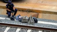 Bags on the track of the rail disaster in Santiago de Compostela