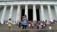 Visitors stream to the Lincoln Memorial in Washington, DC