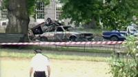Burnt-out car after Hyde Park Bombing, 1982