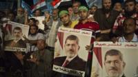 Pro-Morsi supporters with posters and flags