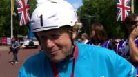 London Mayor Boris Johnson on the finishing line